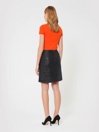 Short woven leather skirt - Noir