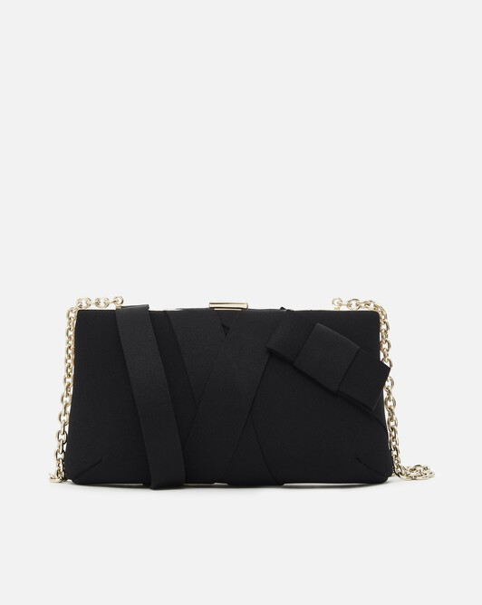 Satin-back crepe clutch - Noir