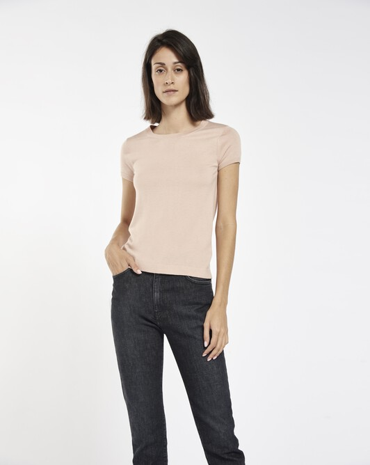 Sweater in cashmere silk - Pale pink