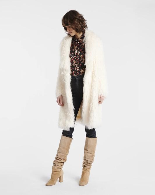 Manteau en mongolie - Blanc casse