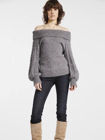 Pull en alpaga, laine et coton - Souris