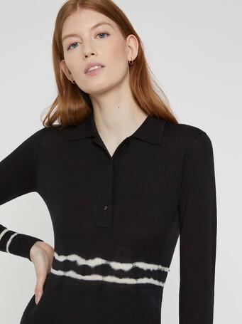 Short merino wool dress - Noir / blanc casse