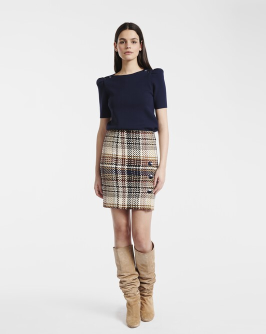 Skirt in Prince of Wales checked cotton - Brun / marine