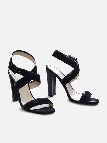 Sandales en cuir de chèvre et de veau - Noir