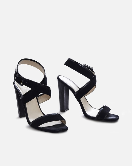 Calfskin and goatskin leather sandals - Noir