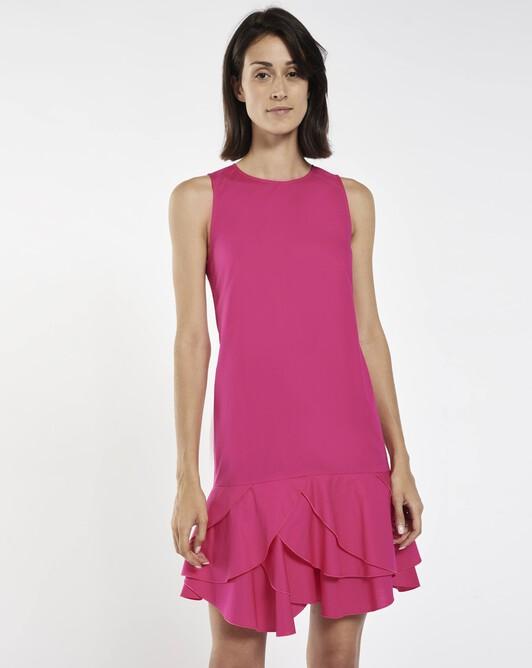 Stretch-cotton poplin dress - Framboise