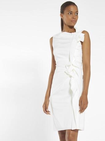 Robe en ottoman stretch - Blanc casse