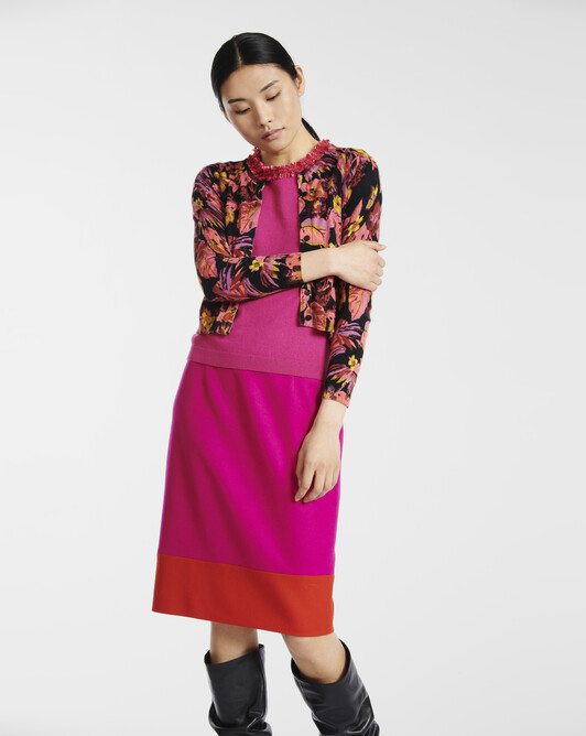 Cardigan en coton/viscose imprimé - multicolore