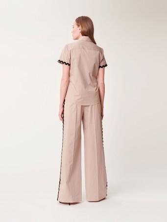 Wide-leg satin-poplin pants - Beige