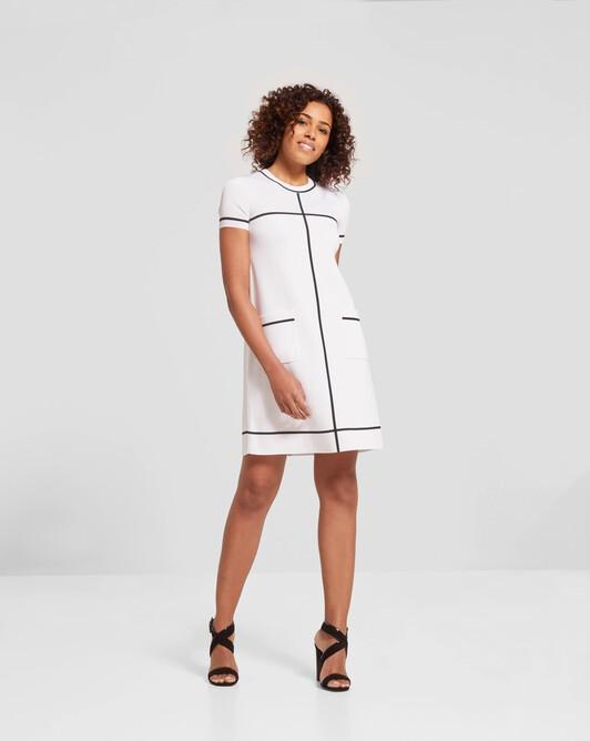 Robe en Viscose - Blanc / noir