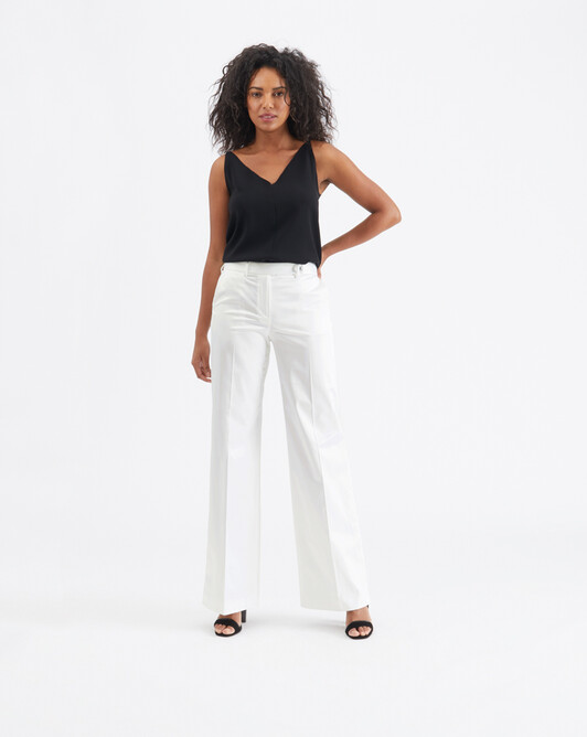 Satin-poplin pants - White