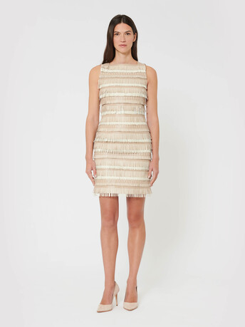 Short dress in fringed lambskin leather - Pierre / blanc casse