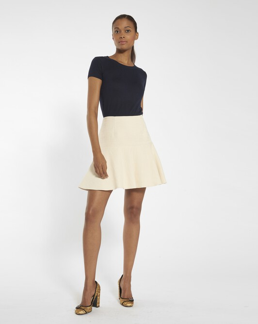 Dobby cotton skirt - Ivory