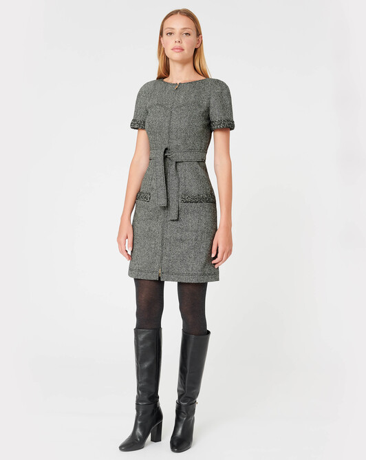 Robe en tweed - Noir