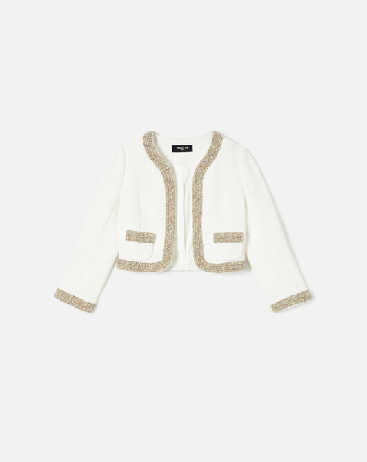 Veste en toile plumetis - Blanc casse