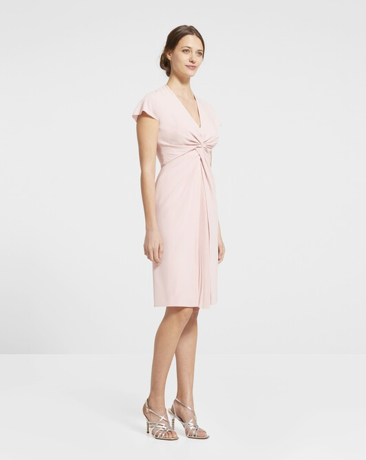 Robe en crêpe envers satin - Rose pale