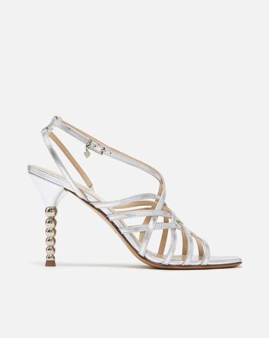 Metallic leather sandals - Silver