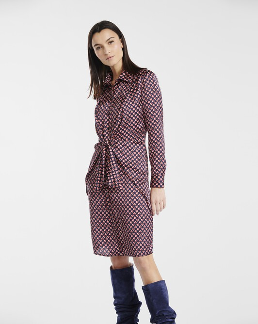 Dress in small heart-print satin - Marine / groseille