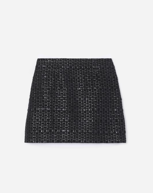 Short woven leather skirt - Noir