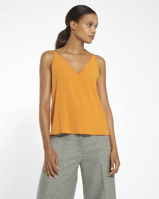 Tank top in satin-back crepe  - Tangerine