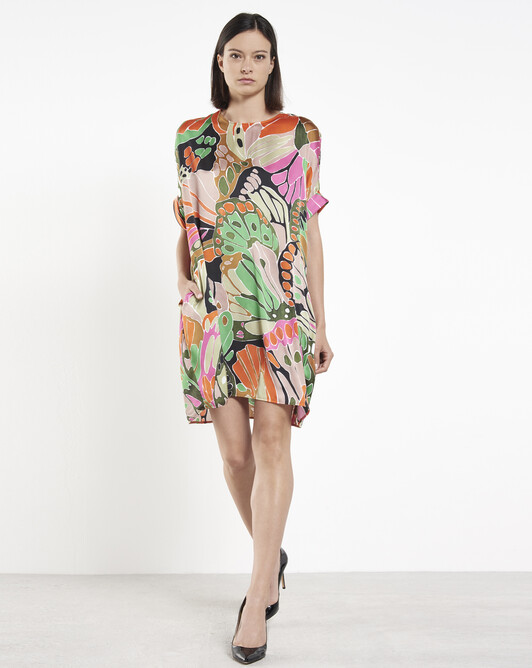 Robe en satin - multicolore
