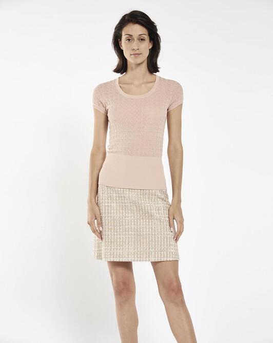 Lace cotton viscose sweater - Pale pink