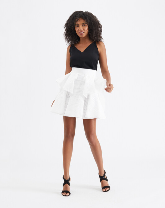 Openwork cotton skirt - White