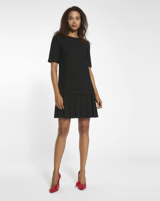 Dobby herringbone dress - Noir