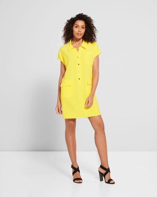Satin-back crepe midi dress - Citron