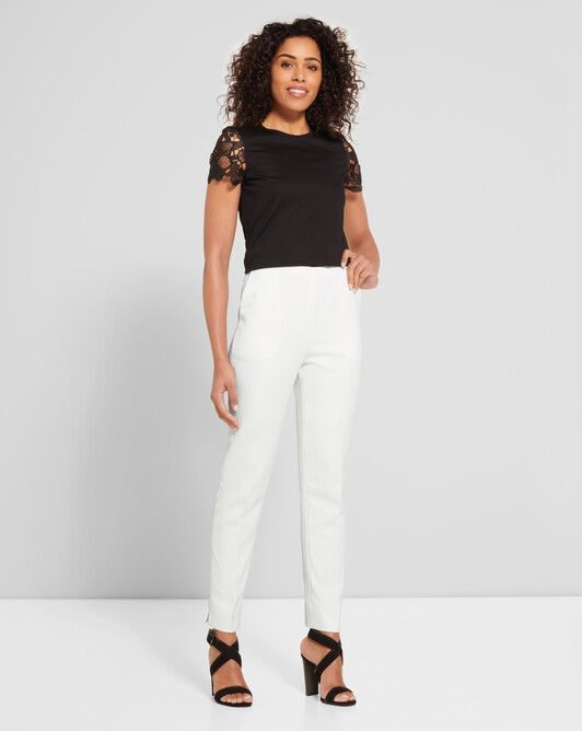Cotton-piqué pants - White