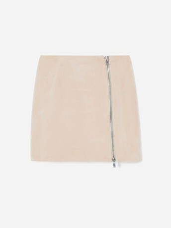 Short lambskin leather skirt - Biscuit