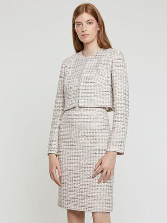Mini-knot tweed cropped jacket - Rose pale