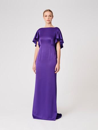 Satin-back crepe dress - Amethyste