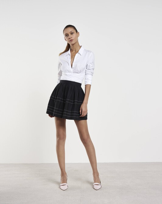 Cotton poplin skirt - Noir