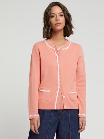 Cardigan long en laine et cachemire - Eau de rose / blanc casse