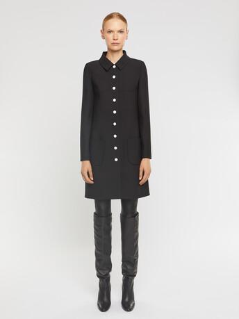 Manteau ajusté boutonné en tricotine stretch - Noir