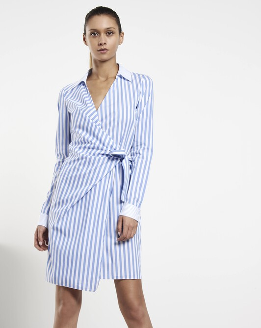 Striped poplin dress - Aqua / blanc