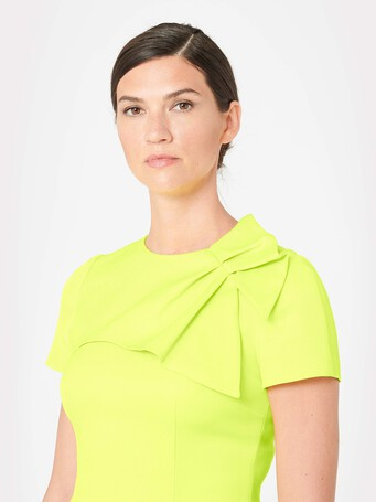 Ottoman-stretch dress - Lime