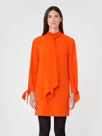 Satin-back crepe dress - Cornaline