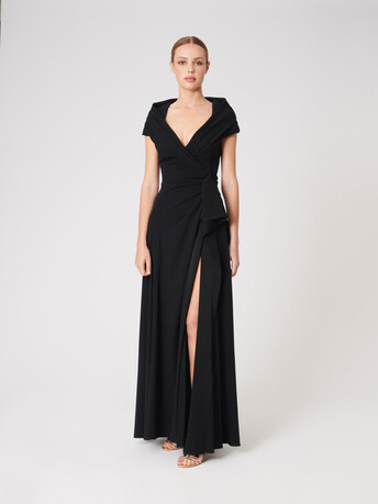Satin-back crepe dress - Noir