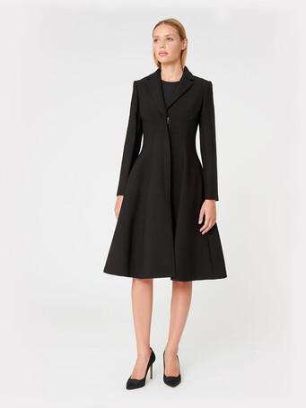 Stretch-tricotine coat - Noir