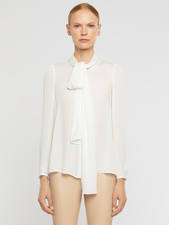 Stretch-charmeuse blouse - Off white