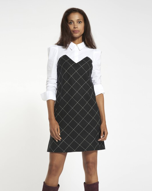 Chalk checked wool dress - Black / white
