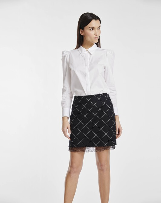 Skirt in chalk checked wool - Black / white