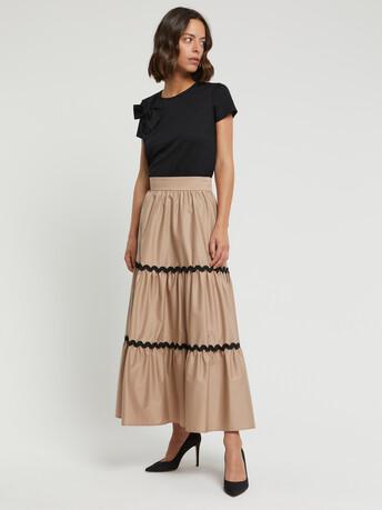 Stretch-satin poplin skirt - Beige