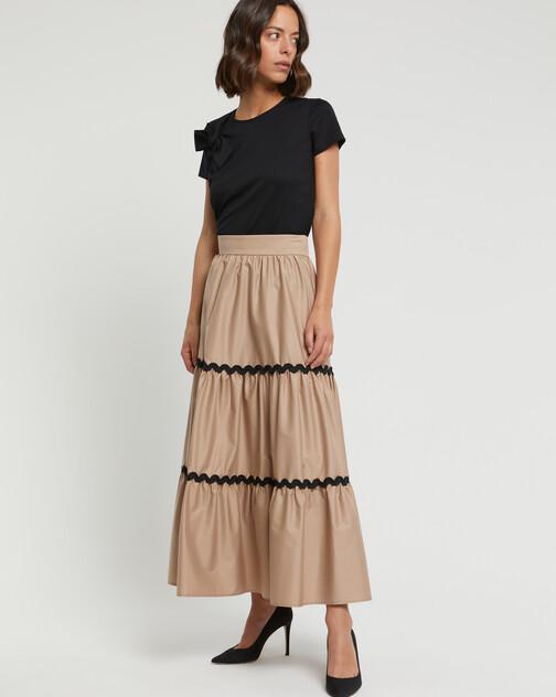 Stretch-satin poplin skirt