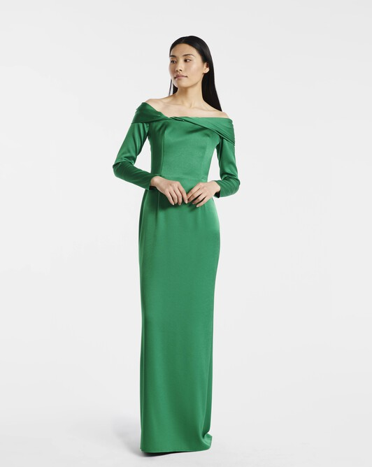 Satin-back crepe dress - Emeraude