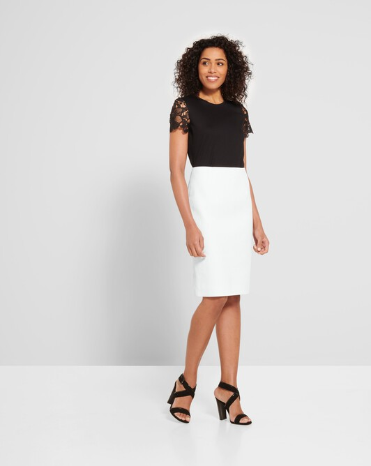 Cotton-piqué skirt - White