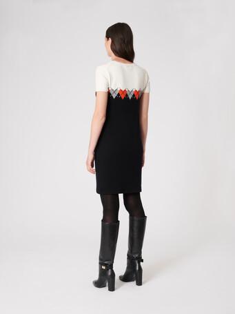 Wool and cashmere dress - Noir / cornaline