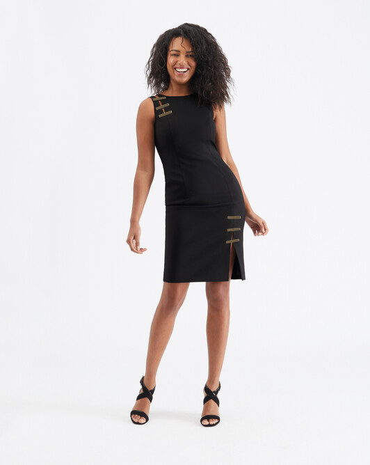 Cotton-tricotine dress - Noir
